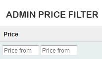 Admin price filter