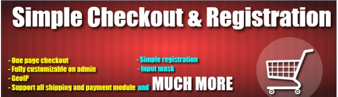 Simple and quick one page checkout and registration