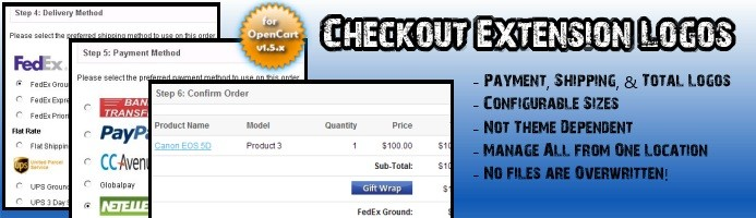 Checkout Logos (Payment, Shipping, Order Totals)