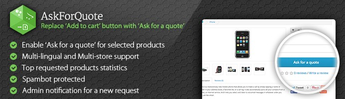AskForQuote - Replace Add to cart with Ask for a quote