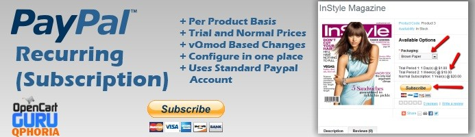 Paypal Recurring Subscriptions 1.5.x