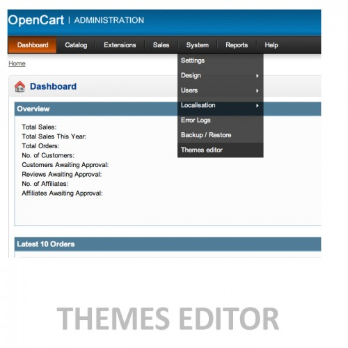 Extensions template editor theme editor file editor for Opencart template editor