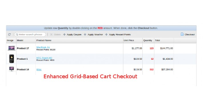 Quick Ordering - Enhanced Grid-Based Cart Checkout