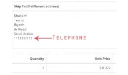 Customer's telephone in invoice