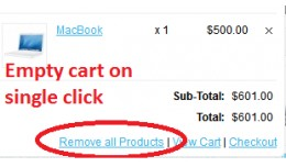 Remove All products from cart on single click