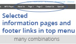 Selected information pages, links in top menu-Ma..