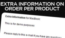 Extra Information on Order per product