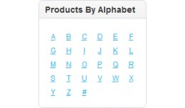 Alphabet Index Table of Products