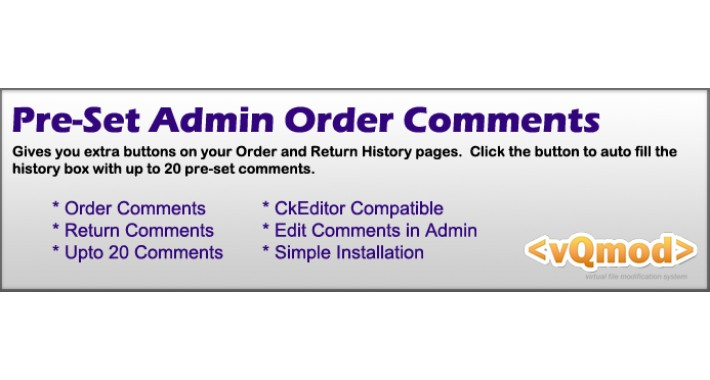 Pre-set Admin Order and Return Comments