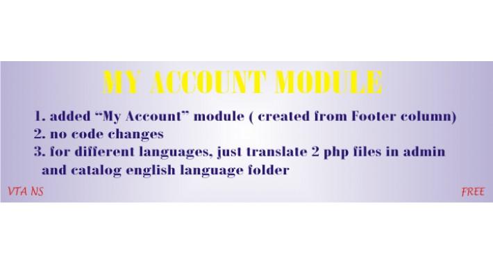 My Account Module