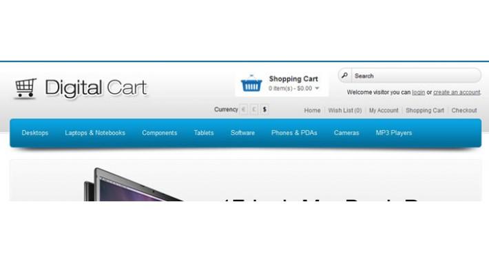 Digital Cart Opencart template - Blue 1.5.6.4