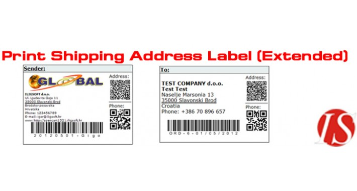 Print Shipping Address Label (Extended) for v1.5.2.x (vQmod)