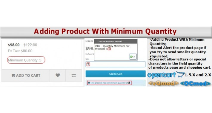 Adding Product With Minimum Quantity - Alert Sound Product