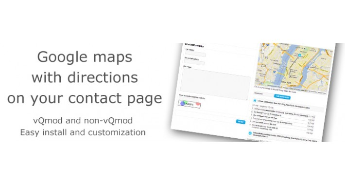 Google maps with directions on contact page