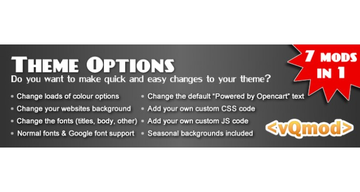 Theme Options - Change theme colours, backgrounds, fonts
