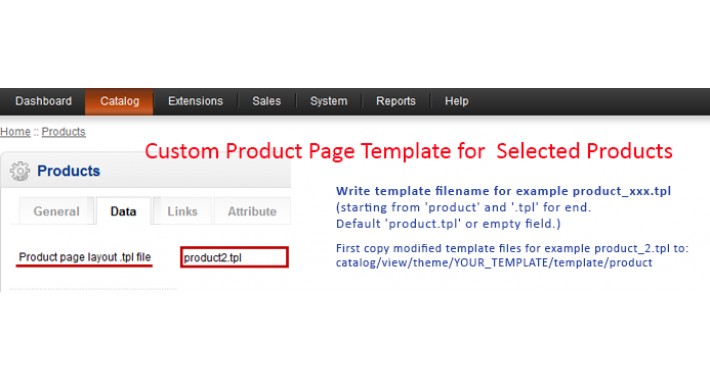 Custom Product Page Template for Selected Products vqmod