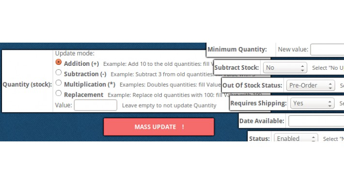 MASS products update: Quantity (stock),+...