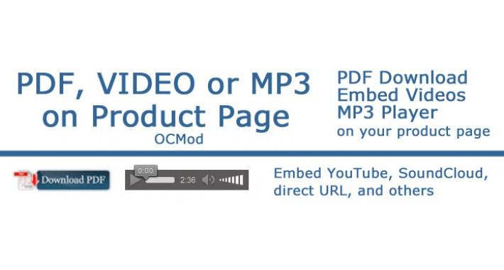 PDF, Video or MP3 download on Product Page