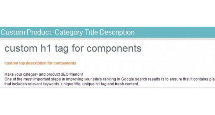 Category SEO Custom Category Title H1 Description Product Title