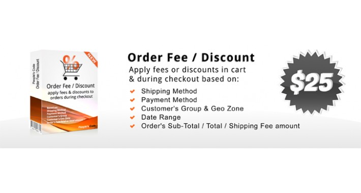 Discount/Fee based on Amount, Group, GeoZone, Shipping, Payment