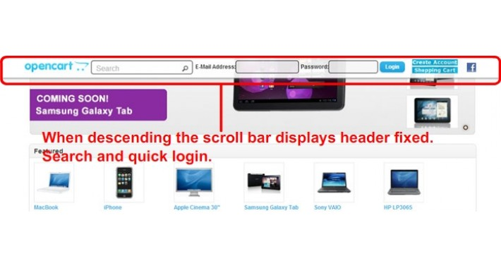 Fixed Header Quick Search and Quick Login