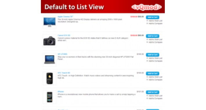 VQMOD - Default Product Listing to List View