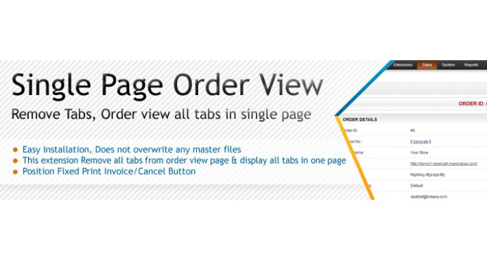 Single Page Order View (No Tabs) - vQmod/ocmod
