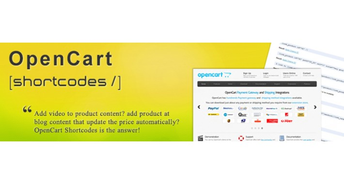 OpenCart Shortcodes