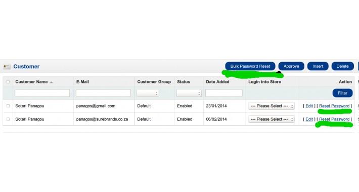 Admin Customer Reset Password