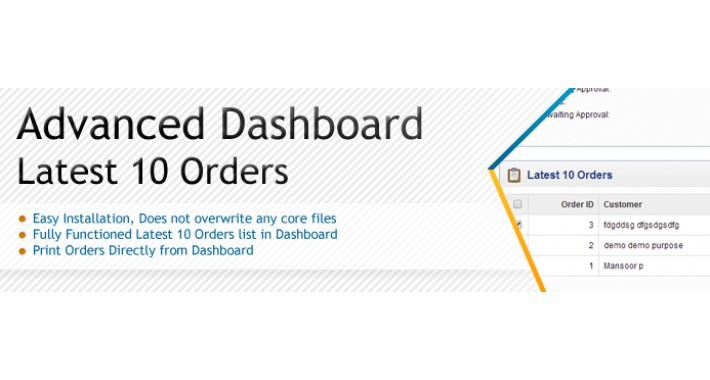 Advanced Dashboard Latest 10 Orders - SALE 30% DISCOUNT