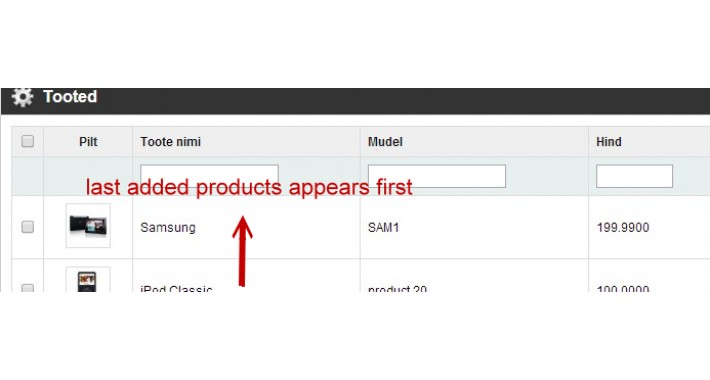 Admin Product List Last Added First Order (Vqmod)
