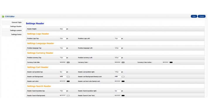 OpenCart - CSS EDITOR (Module template settings)