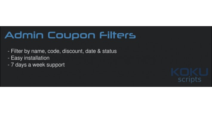 opencart - admin coupon filters