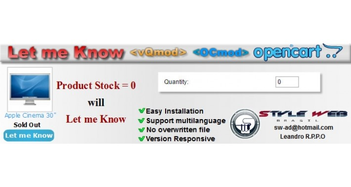 "Sold Out - vQmod/OCmod-New button ""Let me Know"""