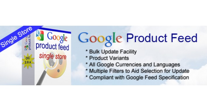Google Product Feed for Opencart 2.0 - Single Store version