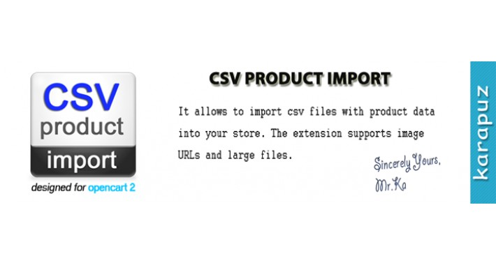 CSV Product Import (for Opencart 2)