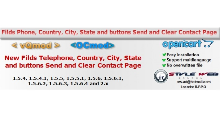 Fields phone country city state - buttons send/clear contact
