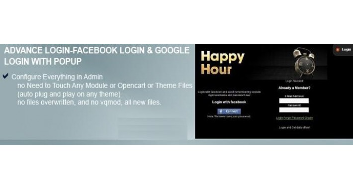 Advanced Login- Facebook login & google login with popup