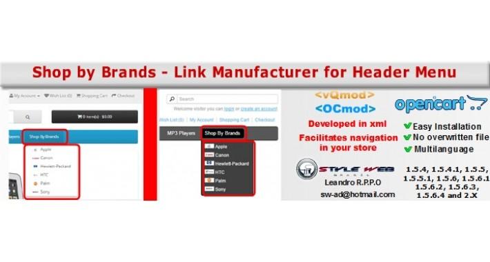 [vQmod/OCmod]Link Manufacturer for Menu Header