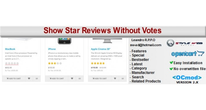 [OCmod]Show Star Reviews Without Votes