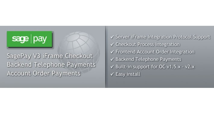 SagePay V3 iFrame Checkout with Telephone Payments