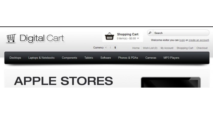 Digital Cart Opencart template - Black 1.5.5.1