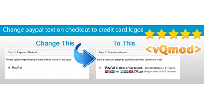Change paypal text on checkout to credit card logos VQMod