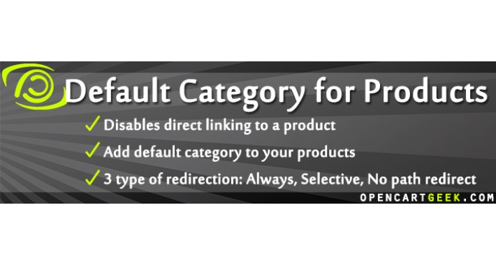 Default Category for Products with Redirect