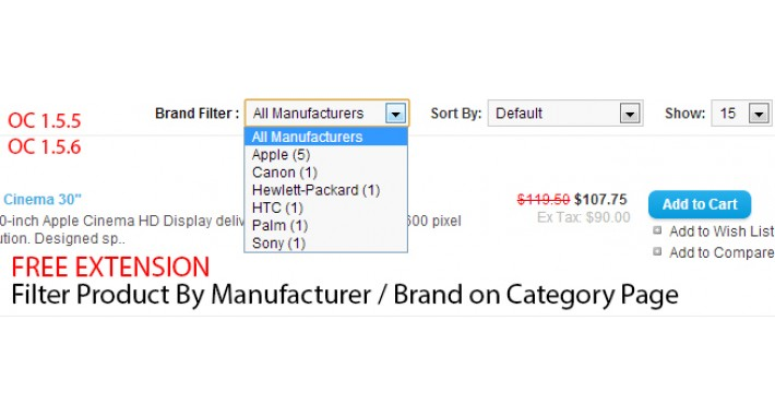 Filter by manufacturer on category and search page (vQMod)