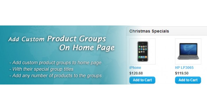 Custom Product Groups  On Home Page