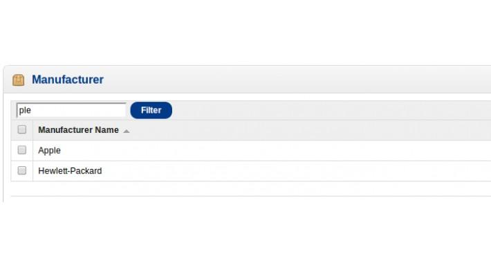 Simple admin manufacturers filter