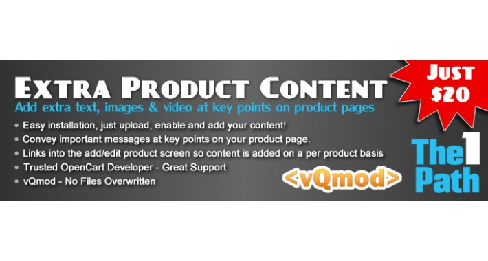 Extra Product Content - Add extra content per product