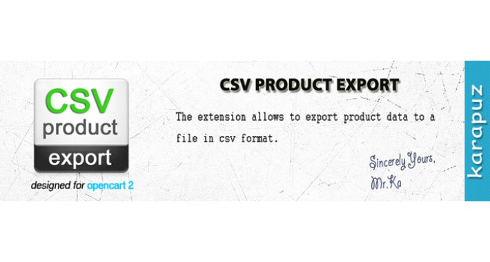 CSV Product Export (for Opencart 2)