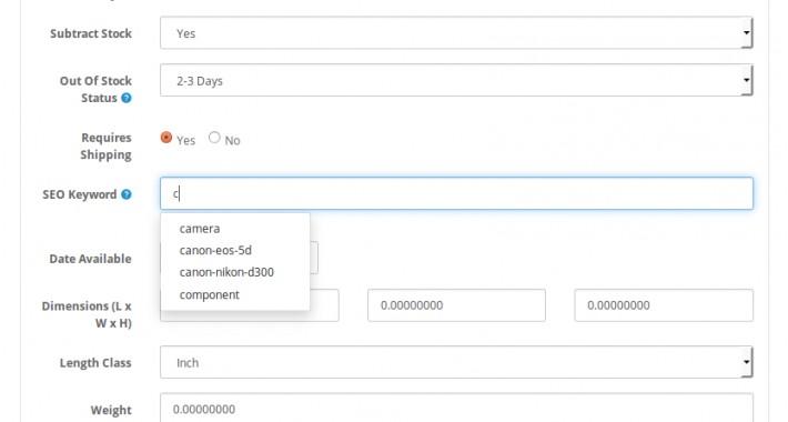[OCJ] Autofill SEO URL Keywords on create/edit pages